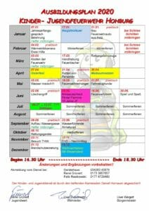 Dienstplan Kinder- Jugendfeuerwehr
